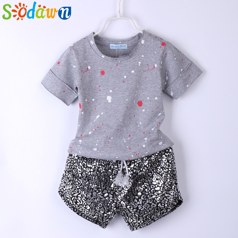 Sodawn 2017 Summer Style Girls Clothes Paint Points Tops+Leopard Grain Shorts 2Pcs Baby Girls Clothing Set Kids Clothes baby girls summer clothing girls july 4th anchored in god s word shorts clothes kids anchor clothing with accessories