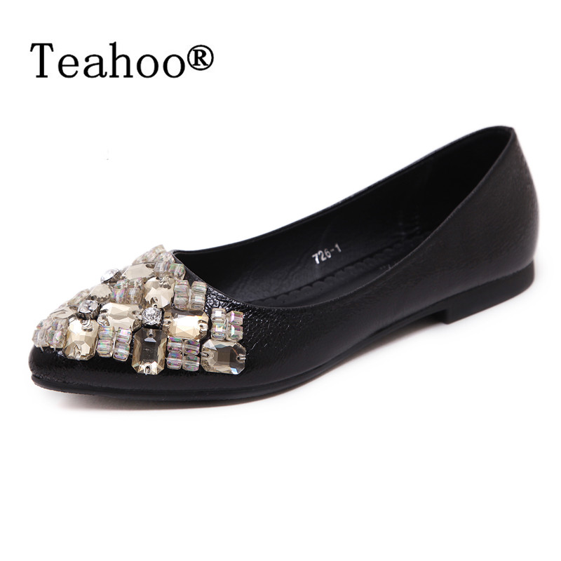 Rhinestone Flats Shoes Woman 2017 Dress Flats Female Ballet Shoes PLUS SIZE 34-43 Comfort Rhinestones Casual Flats zapatos mujer