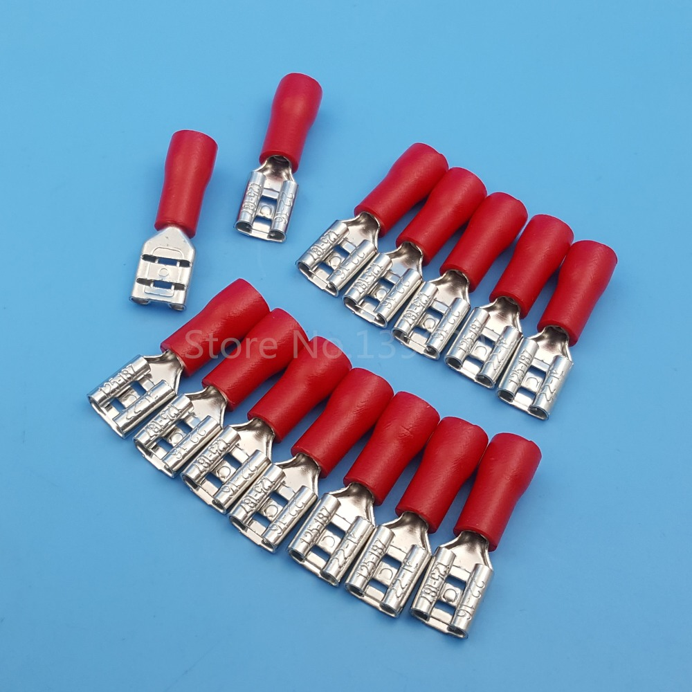 1000Pcs RED 4.8mm Female FDD1.25-187 Spade Insulated Quick Disconnects 16-22 AWG Wire Crimp Terminals Connector