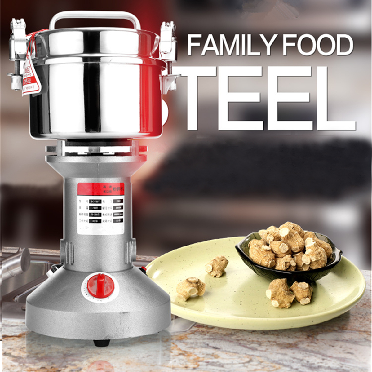 750G Stainless Steel High Speed Electric Herb Coffee Grain Grinder Grinding Cereal Mill Flour Powder Machine 3000W 220V