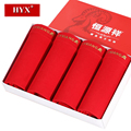 HYX 2016 Winter Men Ropa Interior Hombre Boxer Shorts U-convex Mens Underwear Red Solid Color Calzoncillos Men Middle Waist