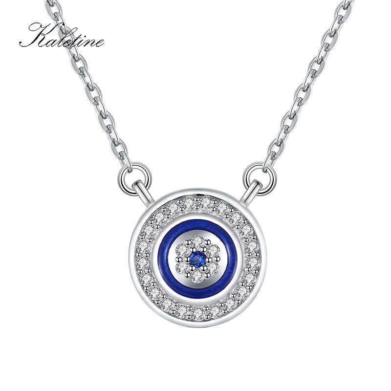 KALETINE 925 Sterling Silver Necklace Women Luck Blue Evil Eye Charm CZ Pendant Long Chain Necklaces Turkish Mens Jewelry ChokerKALETINE 925 Sterling Silver Necklace Women Luck Blue Evil Eye Charm CZ Pendant Long Chain Necklaces Turkish Mens Jewelry Choker