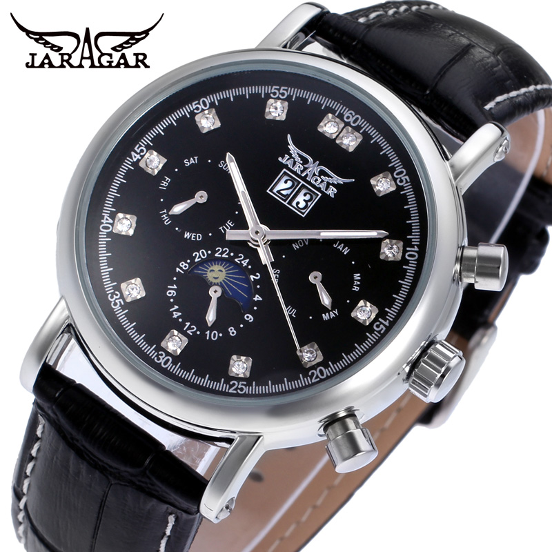Jargar Automatic silver color men wristwatch tourbillon black leather strap hot selling shipping free JAG348M3S1 все цены