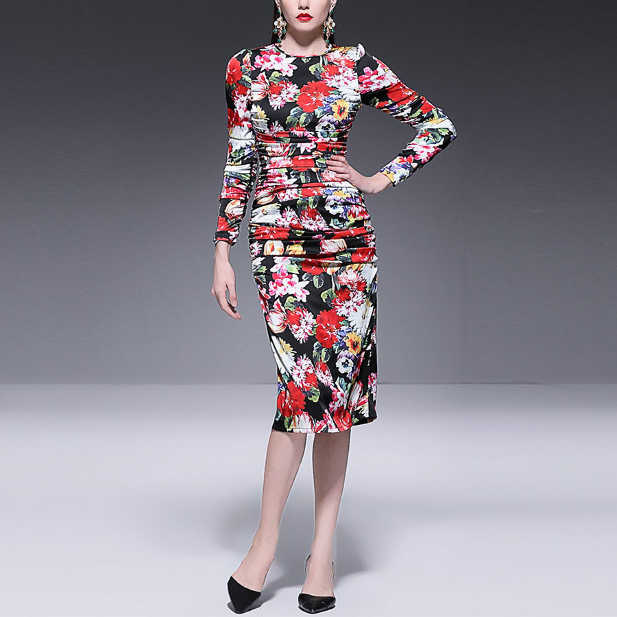 Red RoosaRosee Summer Runway Sexy Bodycon Vintage Dress Women s Elegant Long Sleeve Floral Print Princess