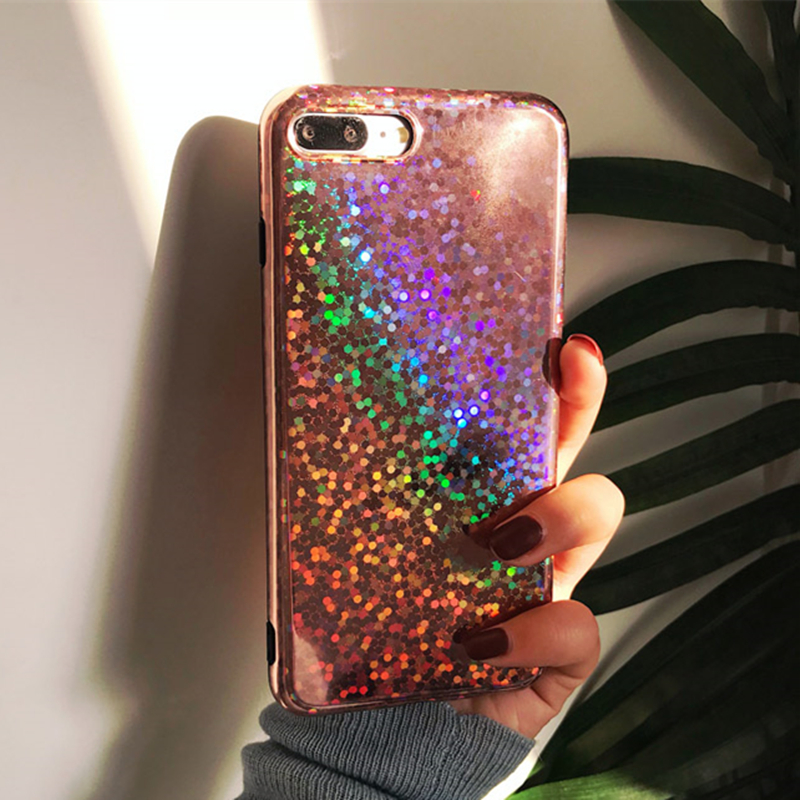 timeless design a261e 7f609 Rose gold Laser Sequins Cover For iphone X Case For iphone 6 6S 7 8 Plus  Case Glitter Bling Glossy Soft TPU Cover For iPhone 8