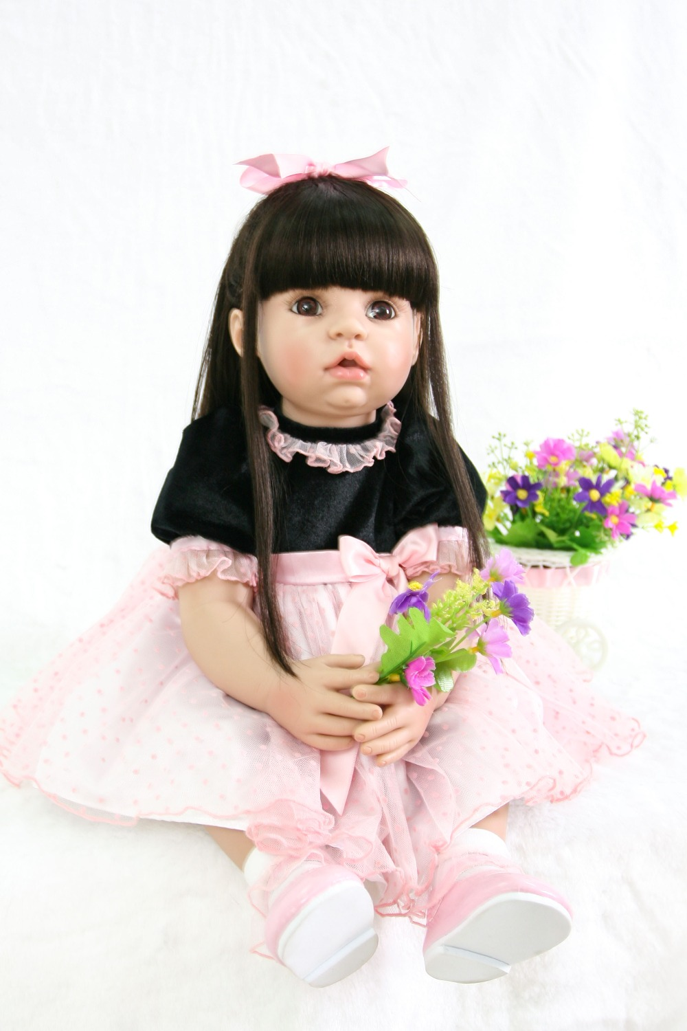 60cm Silicone Reborn Baby Doll Toys Like Real 24inch Vinyl black longhair Princess Toddler Babies kids birthday Xmas gifts60cm Silicone Reborn Baby Doll Toys Like Real 24inch Vinyl black longhair Princess Toddler Babies kids birthday Xmas gifts