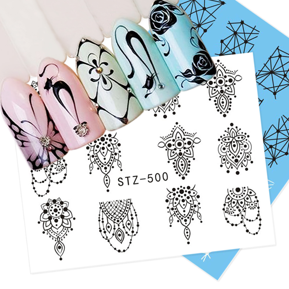1 Sheet Jewelry Cat Water Transfer Nail Art Stickers Decals Butterfly Retro Black Lace Designs DIY Charming Tips SASTZ497-450 2016 2sheets manicure tips beauty purples oil printing 3d diy designs nail art water transfer stickers decals full cover xf1405