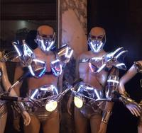 New Led Luminous Ballroom Costume With Mask Light LED DJ Nightclub Event Party Dance Wear Clothes