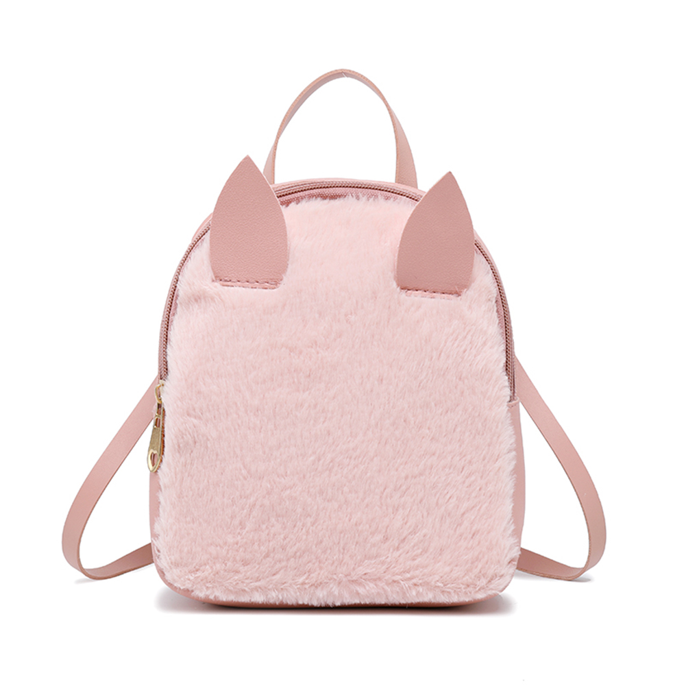 New Sweet Women Mini Backpack Girls School Bags Plush Pu Leather Cute Animal Ear Backpacks Wml99