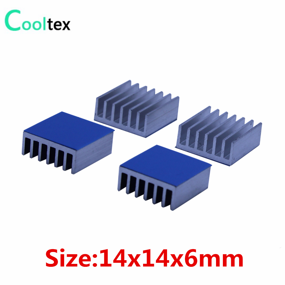 50pcs 14x14x6mm Aluminum Heatsink Heat Sink Radiator Cooling For Electronic Chip IC  With Thermal Conductive Double sided Tape 200pcs lot 0 36kg heatsink 14 14 6 mm fin silver quality radiator