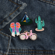 Creative Brooches Cartoon Bicycle Girl Shoes Tent Cactus Outdoor Enamel Pin Men Women Trip Souvenir Jewelry Backpack Lapel Pins(China)