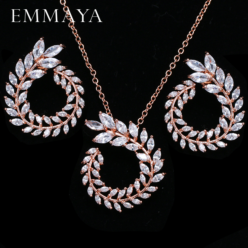 EMMAYA Trendy Women Pendant Necklace And Earrings Jewelry Sparkling AAA CZ Stone Jewelry Sets For Ladies chic rhinestone african plate shape pendant necklace and earrings for women