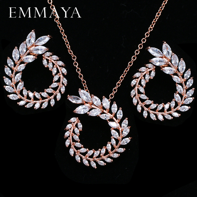 EMMAYA Trendy Women Pendant Necklace And Earrings Jewelry Sparkling AAA CZ Stone Jewelry Sets For Ladies