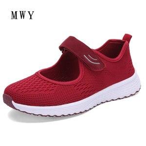 Image 2 - Mwy moda respirável mulher vulcanizar tênis confortável voando tecidos primavera sapatos casuais feminino malha plus size senhoras sapato