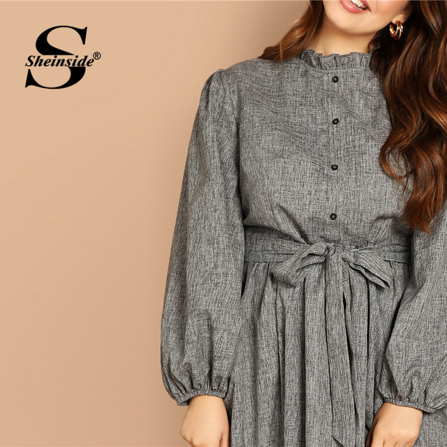 Sheinside Plus Size Casual Grey Ruffle Detail Dress Women Button Belted Shift Dresses Spring Elegant Stand Collar Maxi Dress 3