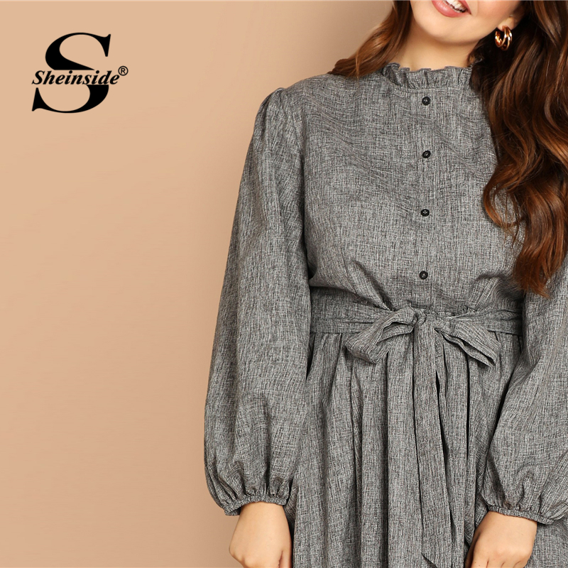Image 4 - Sheinside Plus Size Casual Grey Ruffle Detail Dress Women Button Belted Shift Dresses Spring Elegant Stand Collar Maxi Dress-in Dresses from Women's Clothing