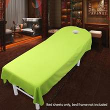 Cosmetic salon sheets SPA massage treatment bed table cover sheets with hole(China)