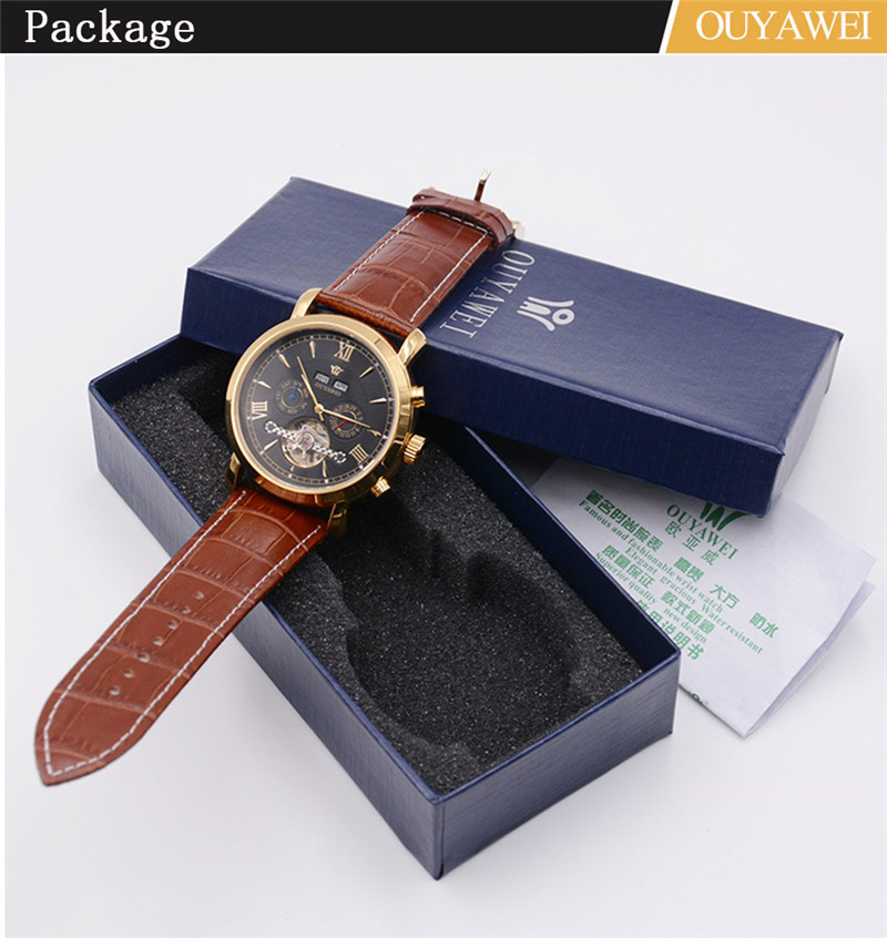 Mechanical Watch Mens Top Men\`s Automatic Mechanical Watches Wristwatch Leather watch relogio masculino (12)