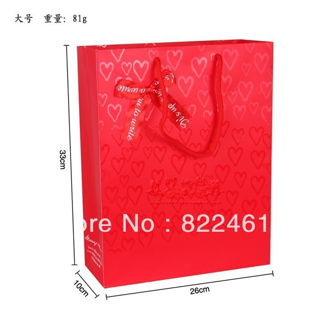 33*26*10CM Manufacturers selling han edition red festive gift bag paper bag packaging bag in a large wholesale