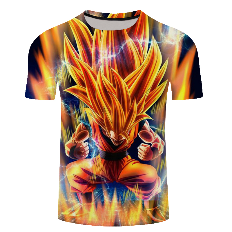 Classic anime Dragon Ball Z T-shirt Super Saiyan 3d t-shirt Handsome Goku print t shirt summer Men/Women Tee Shirt