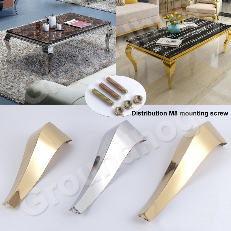 2Pcs Stainless Steel Shiny Gold Furniture Bath Tea Coffee Stool Bar Sofa Chair Leg 35CM 40CM 45CM Legs Feet S Snake European