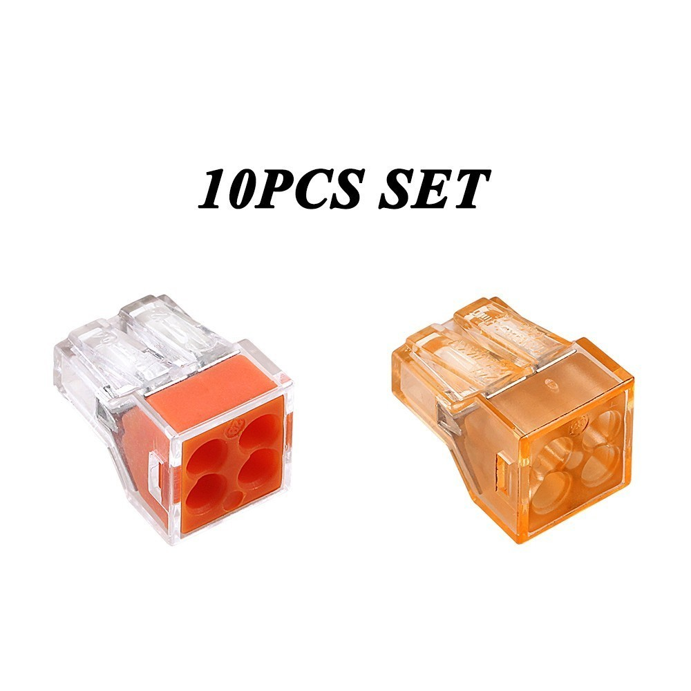 10PCS PCT-104 773-104 4PIN Push-in wire connector for junction box 4 pin conductor wago terminal block set Transparent free shipping 10pcs pct 104 push wire wiring connector for junction box 4 pin conductor terminal block wire connector