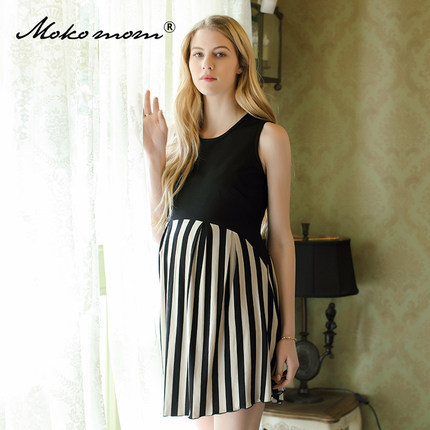 New Pattern Pregnant Woman Dress Summer European Maternity Dress No Generation Seoul Long Fund Stripe Vest Pregnant Woman Skirt