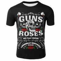 2019 letnia nowa męska koszulka Gun i rose metal rock avatar 3D digital print odzież punkowa trend wokół szyi luźny t-shirt