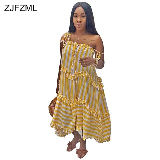 b4cfe11e19c ZJFZML Yellow White Striped Loose Dress Women Spaghetti Strap Sleeveless Ruffles  Maxi Dress Summer Backless Loose Bohemian Dress
