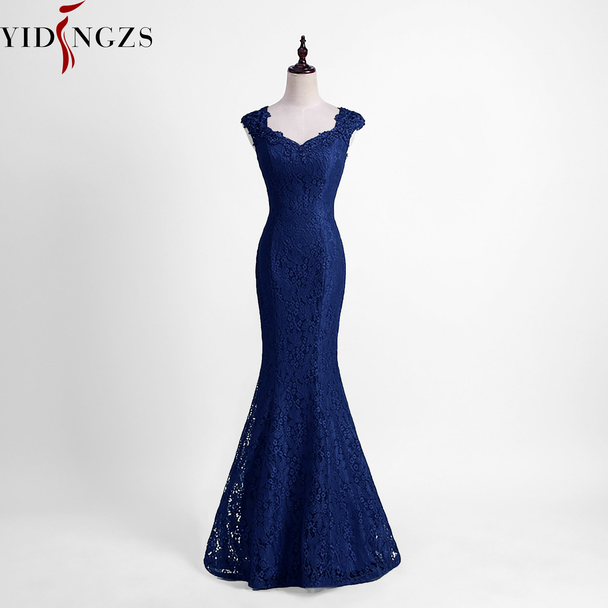 YIDINGZS Elegant Beads Lace Mermaid Bridesmaid Dress 2019 Slim Burgundy Wedding Party Dress