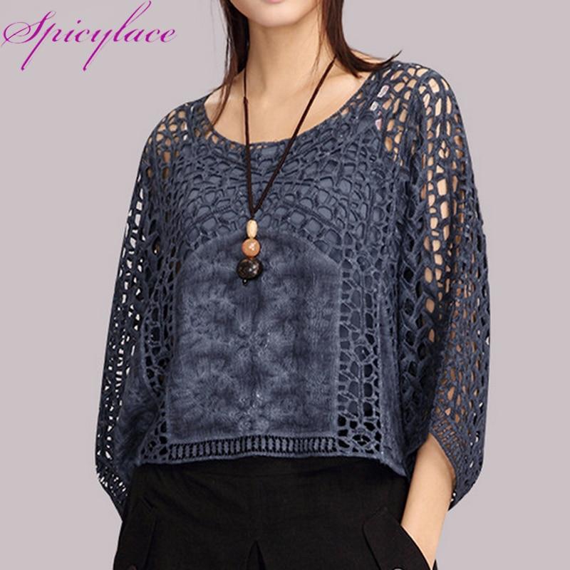 Hollow out Korean Fashion Clothing Blouse Women Cotton Lace  Shirts Lace Loose Blouse Half Sleeve Fashion Solid Women Tops loose blouse blouse fashionfashion blouses - AliExpress