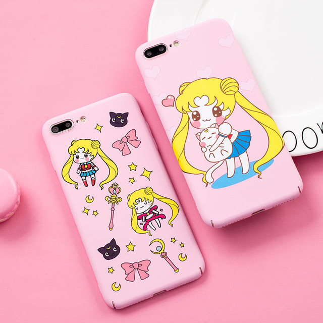 san francisco 3eab8 43763 US $4.99 |For iPhone X case Cute Sailor Moon phone Cases Cover for iPhone 6  6S / 7 plus /8 8plus /6SPlus hard Cartoon pink girl case-in Fitted Cases ...