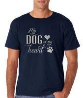Meinen Hund Ist Mein Herz Silber Herren T-shirt Alle Größen Marineblau