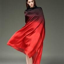 RUNMEIFA 2018 Summer Gradient Colours Silk Scarf For Women/Ladies New Fashion Lo
