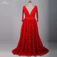 RSE787 V Neckline Long Sleeves A Line Lace Wedding Dresses Red