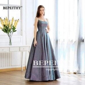 Image 4 - Abiti Da Cerimonia Da Sera A line Evening Dress Long 2020 Vestido De Festa Cheap Prom Dress Gown Elegant Glitter Fabric New