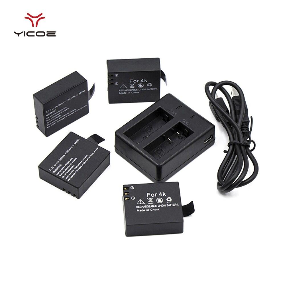 4 PCS 1050mAh Battery Bateria Rechargeable Replacement USB Charging Dock for H9R H9Pro H3R F68R all 4K Action Camera