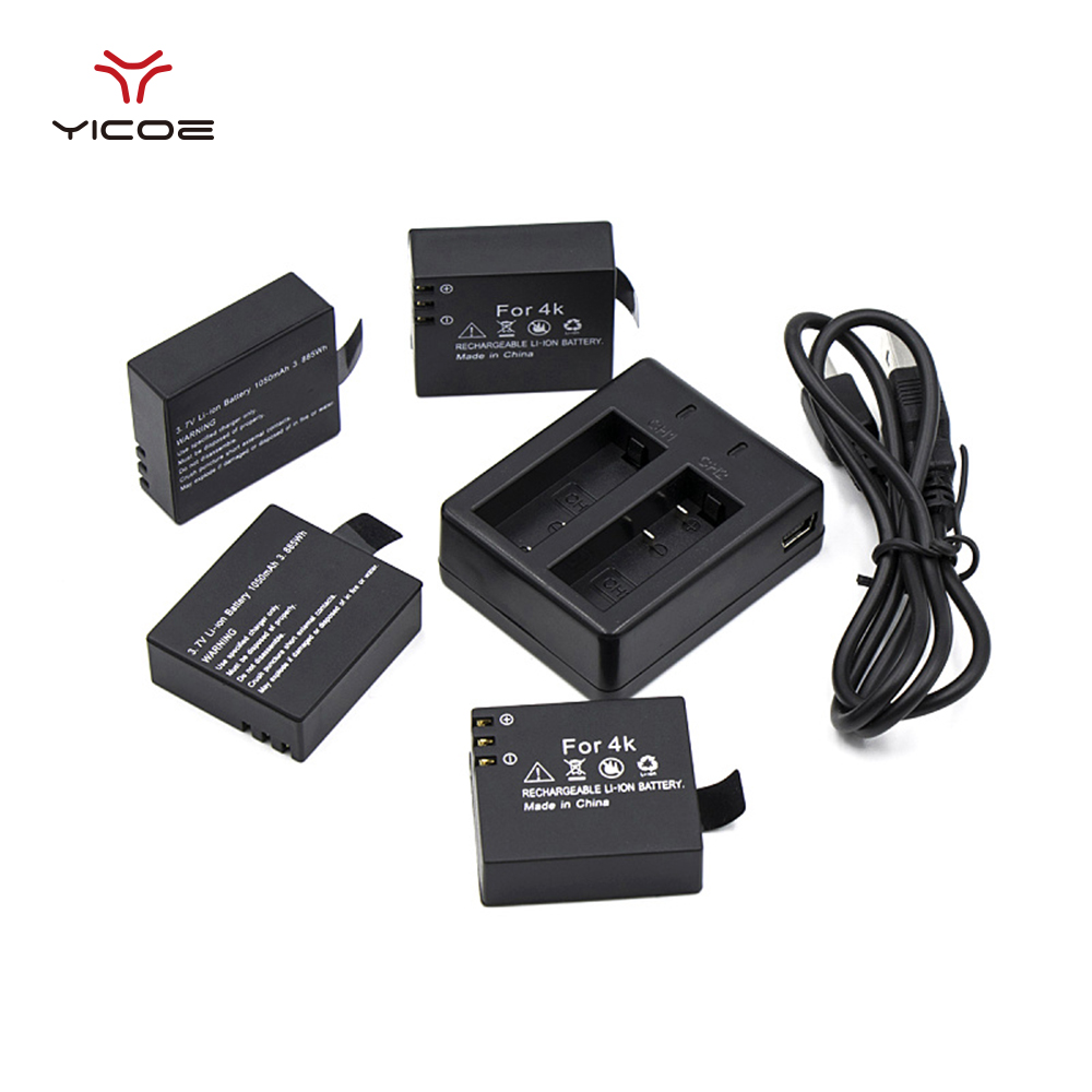 4 PCS 1050mAh Battery Bateria Rechargeable Replacement USB Charging Dock for H9R H9Pro H3R F68R all 4K Action Camera