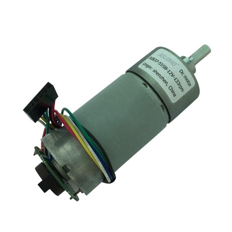 JGB37-555B Encoder DC Gear Motor Motor Speed Measuring Disk Motor 6V 12V 24V 5RPM-640RPM zga37ree 37mm miniature dc gear motor adjustable speed motor reversing 12v 24v 5rpm 350rpm