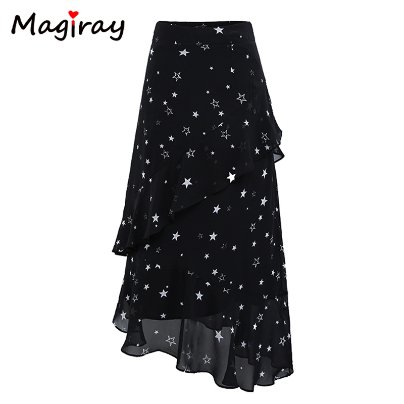 Magiray Stars Print Chiffon Long Skirts Womens Elastic High Waist Ruffle Midi Skirt Summer 2018 A Line Floral Black C478