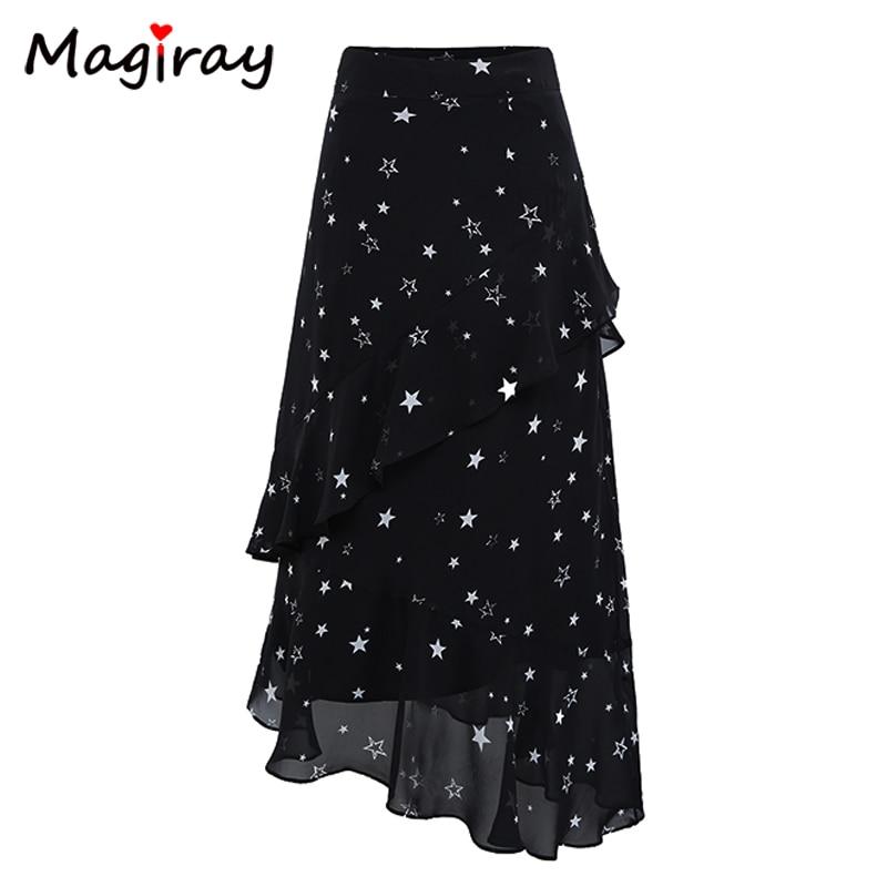 Magiray Stars Print Chiffon Long Skirts Womens Elastic High Waist Ruffle Midi Skirt Summer 2018 A Line Floral Black C478
