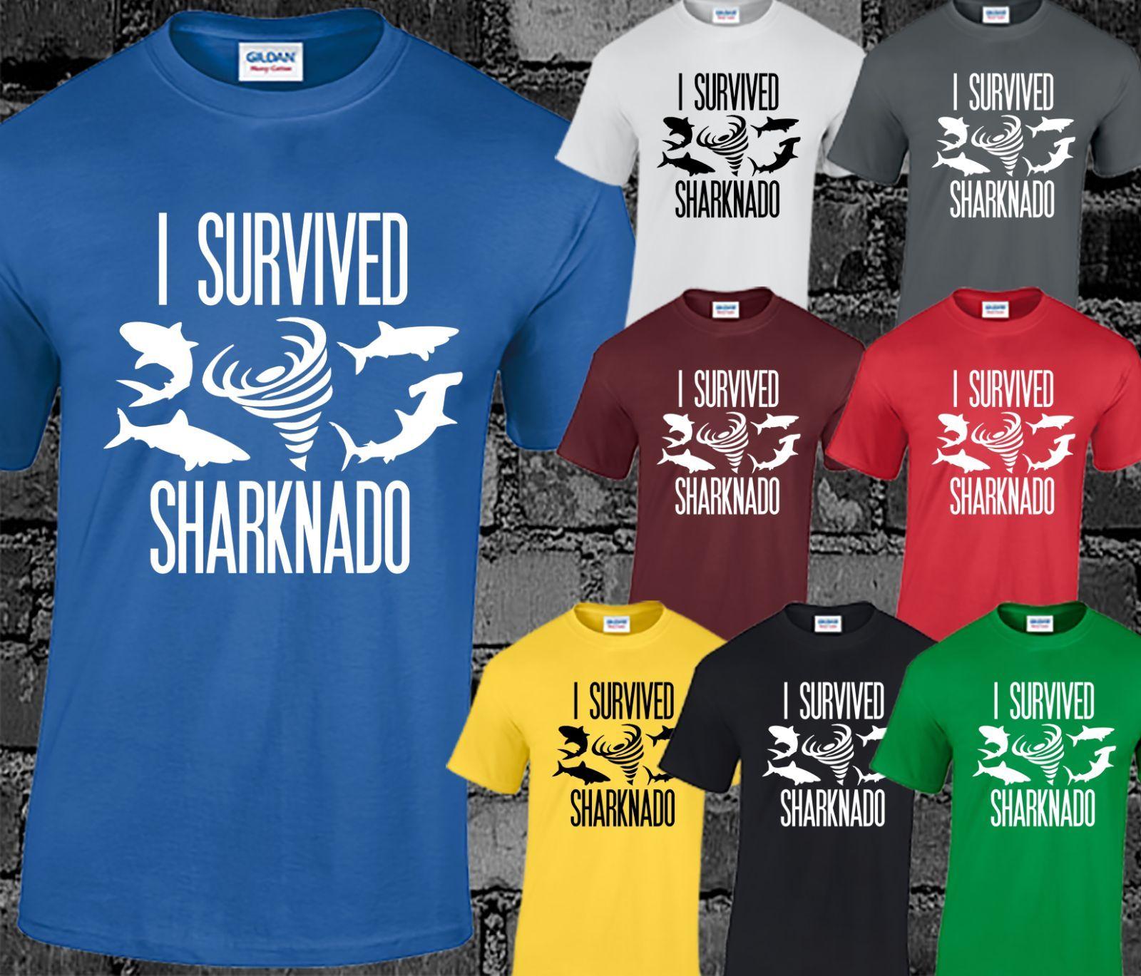 I Survived Sharknado Mens T Shirt Movie Film Cult Sci-fi Funny Print Slogan CoolCool Casual pride t shirt men Unisex New Fashion