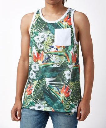 4aa206b9974688 Skate Men s Floral Print Tank Top USA Size S-in Tank Tops from Men s ...