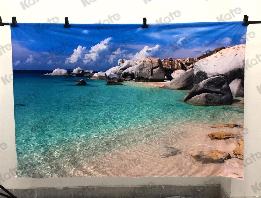 Kate Fotohintergrund 8x8ft Blau Meer Strand Hintergrund Neugeborenen - Kamera und Foto - Foto 3