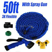 50ft Expanding Garden Hose Blue Flexible Expandable Water Hose And Nozzle Spray