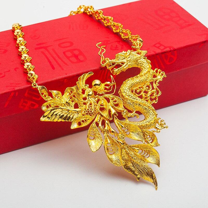 Rétro Dragon & Phoenix pendentif collier amulette de mariée mariage or rempli charme bijoux cadeau - 4