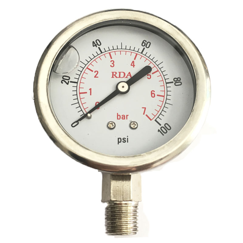 0 100 PSI 7Bar Stainless Steel Liquid Filled Pressure Gauge