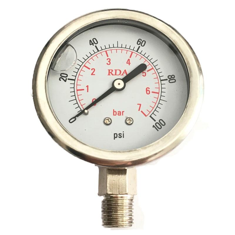 0-100 PSI 7Bar Stainless Steel Liquid Filled Pressure Gauge