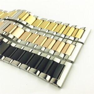 Image 3 - Opaco lucido di Colore Doppio In acciaio inox watch band Farfalla Fibbia Chiusura Sostituzione del Cinturino di Vigilanza 16 18 20 21 millimetri 22 23 24 26 millimetri
