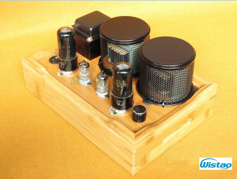 Tube Amplifier Class A Single-ended 2X4.5W 6J1 Drive 6P6P All Retro-style Bamboo-wood Casing Scaffolding Soldering Process HIFI iwistao single ended tube amplifier class a 2x4 8w 6j1 drive 6p6p retro style bamboo wood casing scaffolding soldering